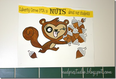 Camping theme bulletin board - squirrel