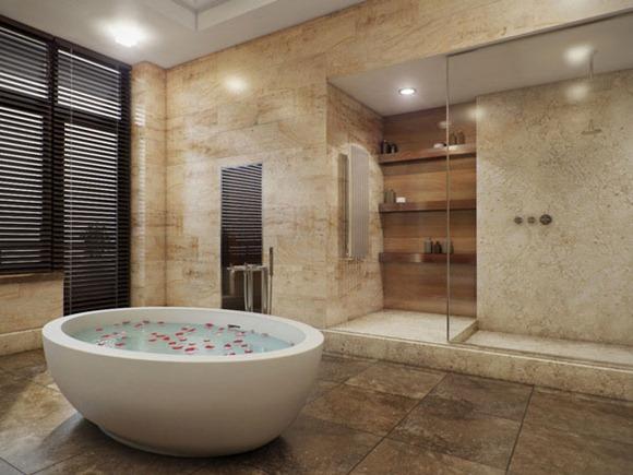 Baños Con Jacuzzi De Lujo: de cuarto de baño tiene una buena combinación de piedra y paneles de