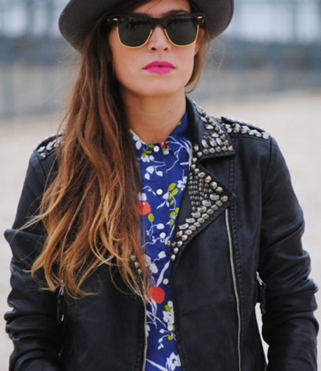 VOGUE-ITALIA-STUDDED-LEATHER-MOTO-JACKET-FLORAL-PRINT-BUTTON-UP-TOP-SHIRT-RAY-BAN-SUNGLASSES-BLACK-HAT-STREET-STYLE