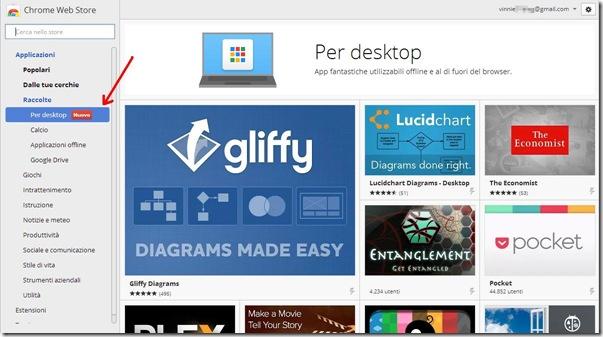 Chrome Web Store app per il Desktop
