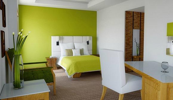 Ideas dormitorio verde lima y blanco