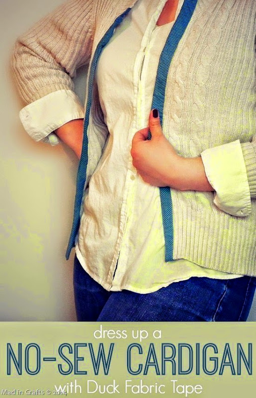 Dress Up a No-Sew Cardigan with Duck Fabric Tape