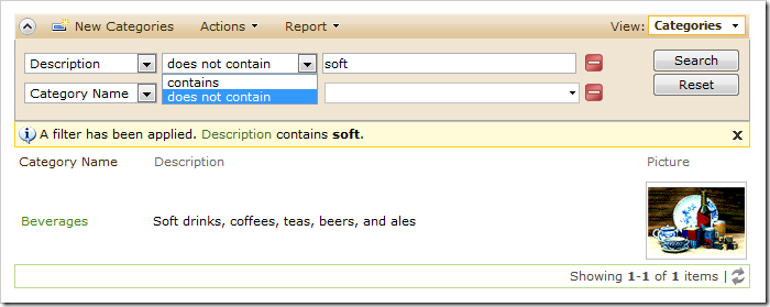 Description field filter options in the advanced search bar are limited to 'contains' and 'does not contain'.