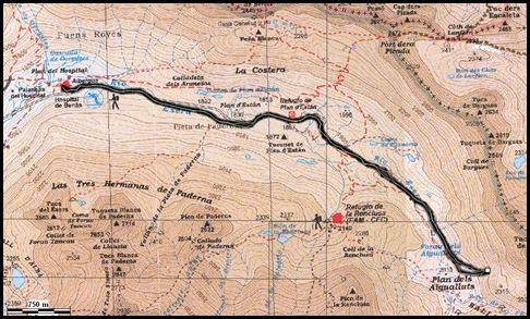Mapa Cascada Mamporros para todos 100m WI4 ,III 90º (Aigualluts, Benasque, Pirineos)