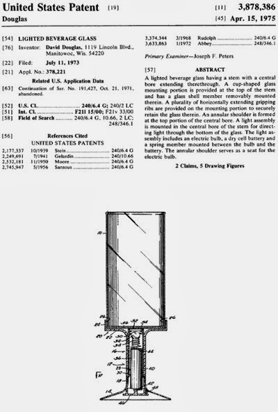 United States Patent 3,878,386 Lighted beverage glass by David Douglas