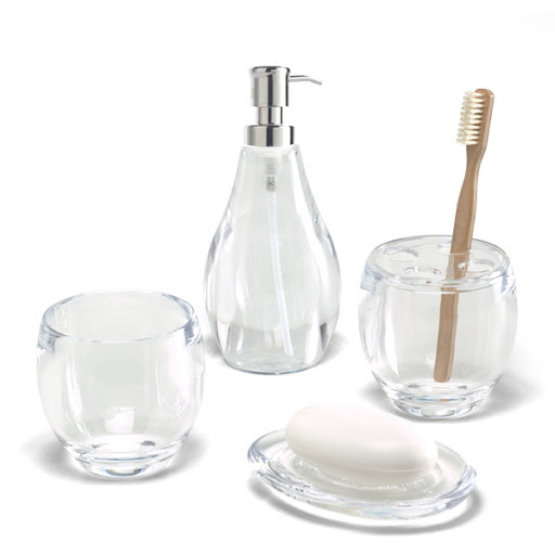 From The Container Store, these Clear Droplet Bath Accessories are perfect for a guest bathroom. You can keep soap dispensers filled and extra toothbrushes available.
