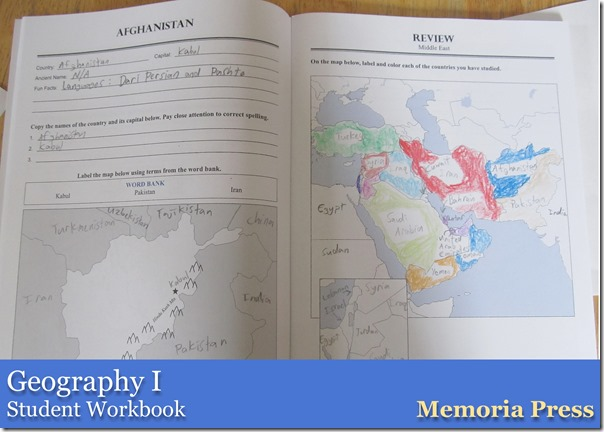 Geography I from Memoria Press Studen Workbook
