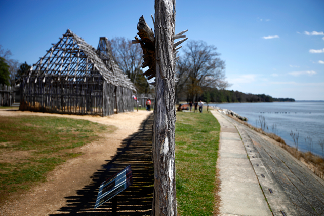 A re-created section of the fort wall in the English colony of Jamestown, Va., sits on top of the original post holes. The fort was thought to have been lost to the James River, but was rediscovered by excavations that began in 1994. Since then, approximately 2 million artifacts have been recovered. The Jamestown site is threatened with sea level rise caused by global warming. Photo: John W. Poole / NPR