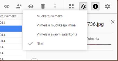 Google Driven tiedostolistauksen järjestysvaihtoehdot ovat turhan vajavaiset