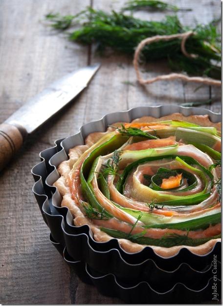 Tarte poireaux et saumon fumé - Julie