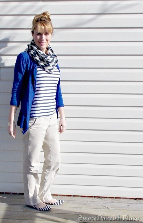 Blue Striped shoes and shirt, Blue cardigan, chevron scarf, khaki pants2