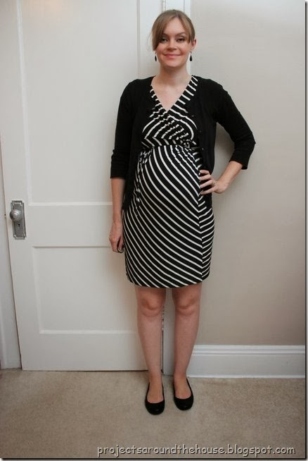 Black and white striped dress, black cardigan
