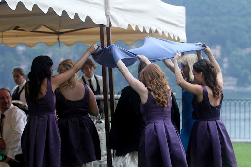 One drawback to having an outdoor wedding is the threat of rain.