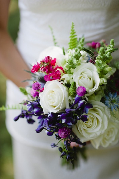 White, pink and blue bouquet - Ideas in Bloom, Ashley O'Dell Photography