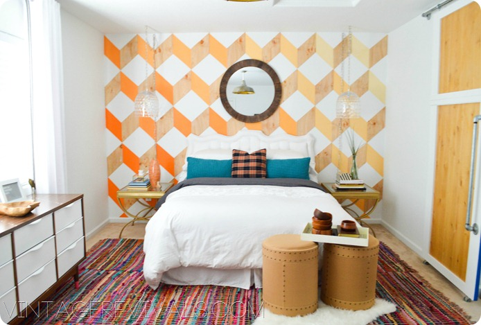 Geometric Wall made with wood vintagerevivals.com