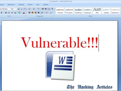 Ms Word Vulnerable