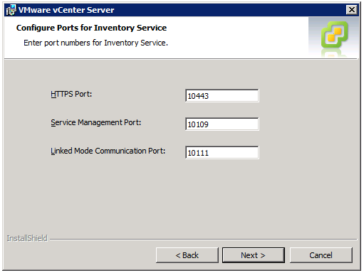 VMware vCenter Server Installer - Configure Ports for Inventory Service