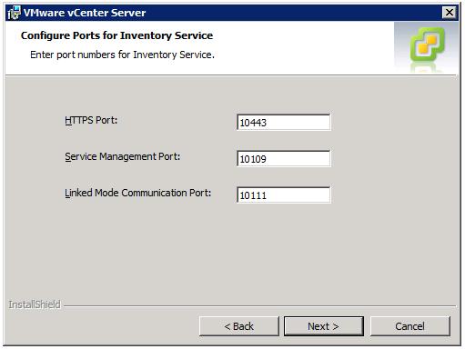 VMware vCenter Server Installer - Configure Ports for Inventory Service