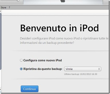 Ripristinare l'iPod/iPhone/iPad da un precedente backup