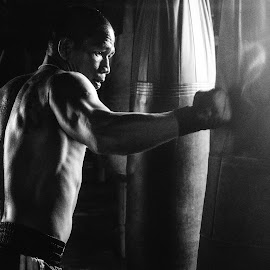 The Punch by Eggy Sayoga - Sports & Fitness Boxing ( punch, monochrome, boxer, indonesia, bw, boxing )