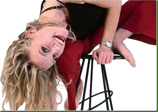 Woman falling off stool uid 1085351