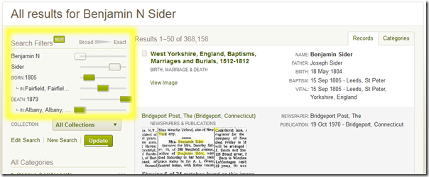 Ancestry.com new Search Filters