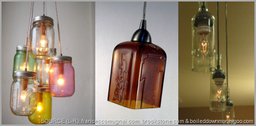 Light up the night with a hanging light kit and an old mason jar. CLICK to enlarge image.