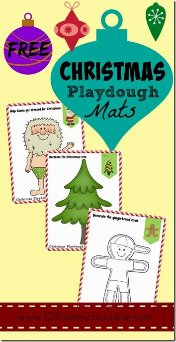 Christmas Playdough Mats - These free printable playdough mats are super cute and perfect for toddler, preschool, and kindergarten kids to use to create and play. Fun Christmas Activity for kids!