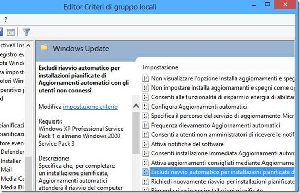 Windows 8 Escludi riavvio automatico per installazioni pianificate di Aggiornamenti automatici con gli utenti connessi