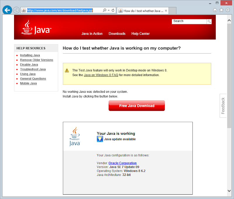 Testing if Java is enabled (it is)