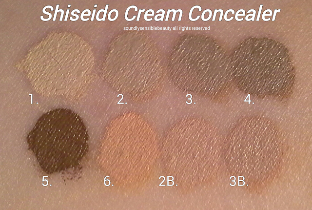 Shiseido Cream Concealer; Review & Swatches of Shades; #1 Light, #2 Light/Medium, #3 Medium, #4 Dark,  #5 Deep,#6 Honey, #2B Light Medium Beige, & #3B Medium Beige: