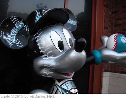 'Mickey Mouse Florida Marlins Statue in front of the ESPN Zone' photo (c) 2010, Loren Javier - license: http://creativecommons.org/licenses/by-nd/2.0/