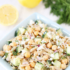 Orzo Salad with Chickpeas, Cucumbers, Lemon, Dill, & Feta