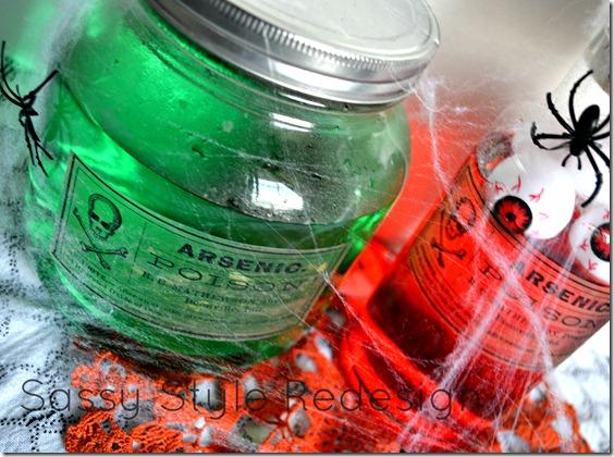 finished poison bottles close