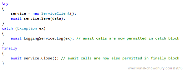 Whats new in CSharp 6.0 - await in catch and finally blocks