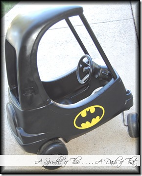 Cozy Coupe Batmobile {A Sprinkle of This . . . . A Dash of That}