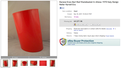 eBay auction end screenshot, In Attesa wastebasket