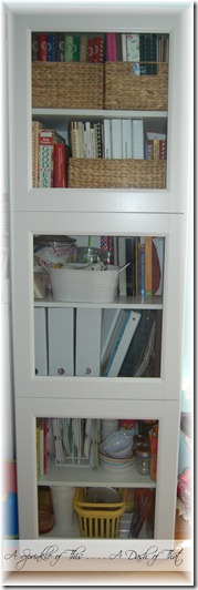 Cabinet before magazine holder makeover{A Sprinkle of This . . . . A Dash of That}