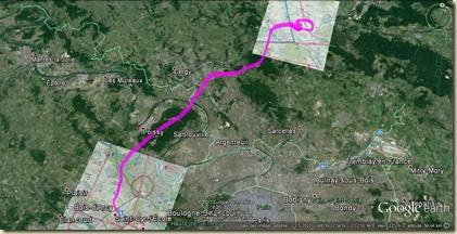 Couloir VFR Rabotage de classe A Parisienne Trace GPS