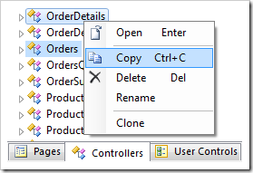 Copy context menu option for Orders and OrderDetails controllers.