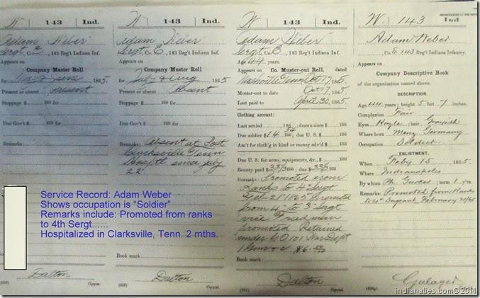 Adam Weber Military Record, 1865.