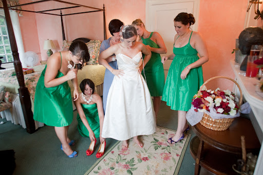 the ladies help me in to my gown.