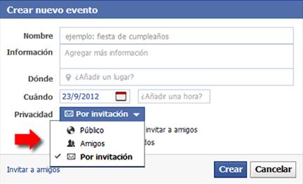 Privacidad de un evento en Facebook