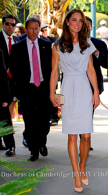 Duchess of Cambridge with Jimmy Choo LOVELY in Powder Pink