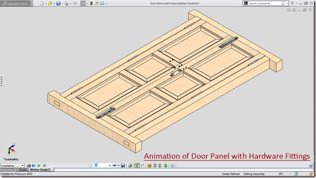 Animation of Door Panel with Hardware Fittings