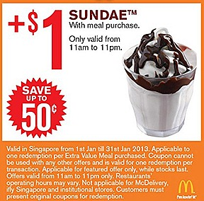 MCDONALDS OFFERS 2013 $1 SUNDAE $2 FRIES $1 for 2 Vanilla Cone $2 Small Fries Extra Small Coke DOUBLE FILET-O-FISH  BIG MAC MCNUGGET 9 PIECE $5 DOUBLE McSPICY BURGER COKE $2 McNugget 6 piece $3 McWings 4 piece JANUARY COMBO MEAL