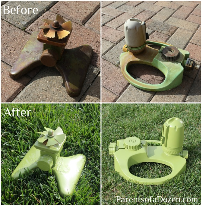 Refresh your sprinklers with spray paint