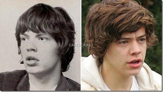 Harry Styles, da banda One Direction, não é a cara do Mick Jagger quando novinho