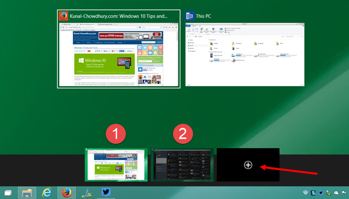 Virtual Desktop and Task view in Windows 10 (www.kunal-chowdhury.com)