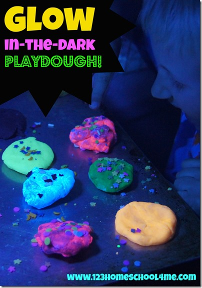 Glow in the dark playdough recipe - LOVE this play doh recipe which is such a fun kids activities for toddler, preschool, kindergarten, first grade, 2nd grade kids and more.